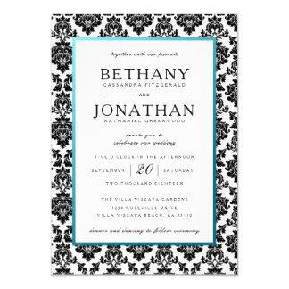Tiffany-Blau und Damast-Hochzeits-Einladung Karte