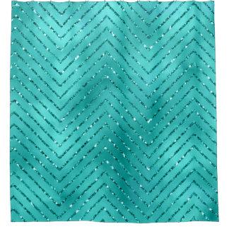 Tiffany blauer metallischer Zickzack Duschvorhang