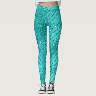 Tiffany blauer metallischer Zickzack Leggings