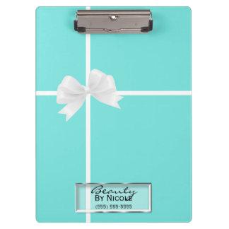 Tiffany blauer weißer Bogen-Damast-bezauberndes Klemmbrett