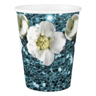 Tiffany Ozean-Blau-Glitter-Blumen-JasminSequin Pappbecher