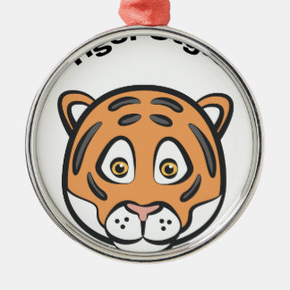 Tiger-Art Rundes Silberfarbenes Ornament