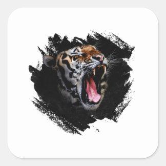 Tiger-Brüllen Quadratischer Aufkleber
