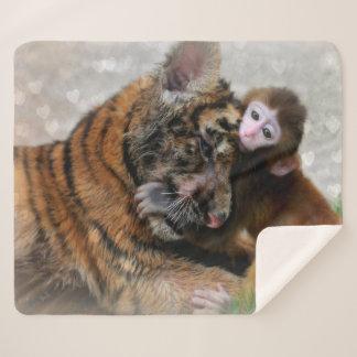 Tiger CUB und Baby-Affe Sherpadecke
