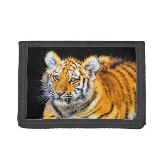 Tiger-CUBschwarze dreifachgefaltete Nylongeldbörse