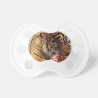 Tiger, der sein Fleisch-wirkliches Foto isst Schnuller