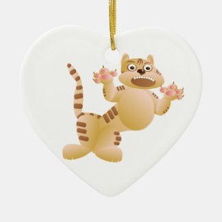 Tiger, die Katze knurrt und bedroht Tatzengreifer Keramik Ornament