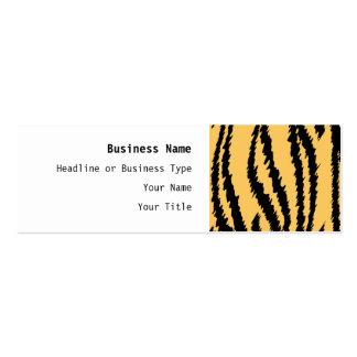 Tiger-Druck-Muster. Orange und Schwarzes Mini-Visitenkarten