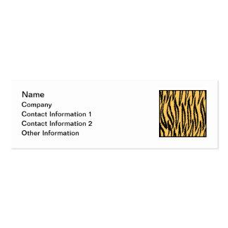 Tiger-Druck. Orange und schwarzes Muster Mini-Visitenkarten