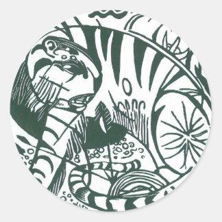 Tiger durch Franz Marc, Schwarzweiss-schöne Kunst Runder Aufkleber