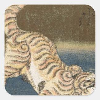 Tiger durch Utagawa Kunisada Quadrat-Aufkleber