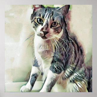 TIGER: ER IST EIN CAT: Digital-Malerei Poster