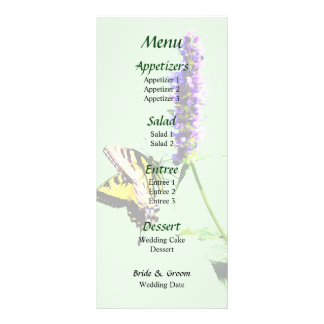 Tiger-Frack auf lila Salvia Hochzeits-Menü Werbekarte
