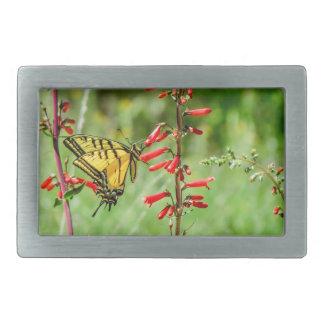 Tiger-Frack-Schmetterling und Wildblumen Rechteckige Gürtelschnalle