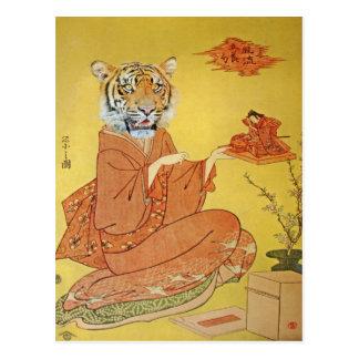 Tiger-Geisha mit MiniaturSamurais Postkarte
