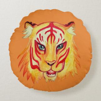 Tiger-Gesicht, das ringsum Throwkissen 41 cm Rundes Kissen