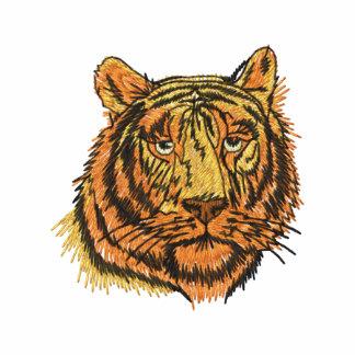 Tiger-Gesicht gesticktes Shirt