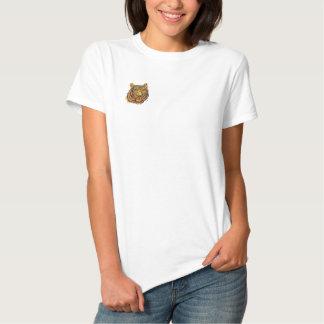 Tiger-Gesicht gesticktes Shirt Besticktes Damen Polo Shirt