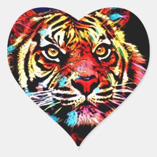 Tiger-Gesicht Herz-Aufkleber