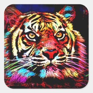 Tiger-Gesicht Quadratischer Aufkleber