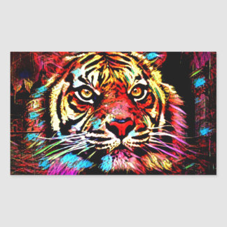 Tiger-Gesicht Rechteckiger Aufkleber