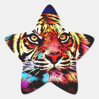Tiger-Gesicht Stern-Aufkleber