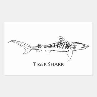 Tiger-Haifisch-Illustration Rechteckiger Aufkleber