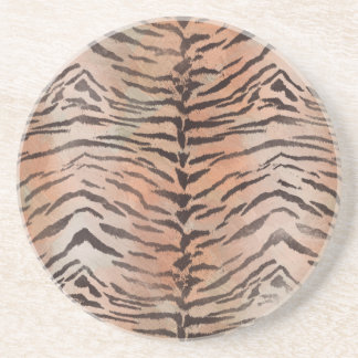Tiger-Haut-Druck in der Mandarine-Aprikose Sandstein Untersetzer