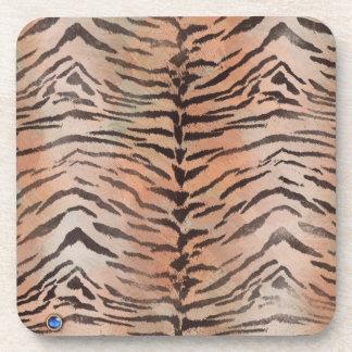 Tiger-Haut-Druck in der Mandarine-Aprikose Untersetzer