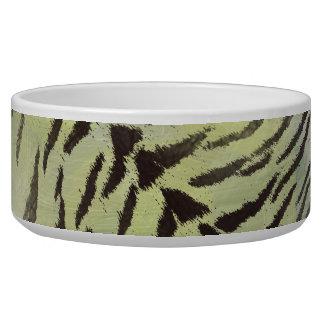 Tiger-Haut-Druck in Limonem Chartreuse Napf