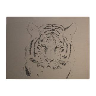 Tiger Holzleinwand