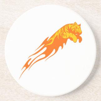 Tiger in den Flammen Sandstein Untersetzer