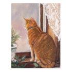 Tiger in der Fenster-Katzen-Kunst-Postkarte Postkarte