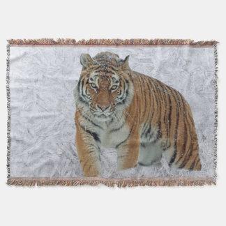 Tiger in der weißen Schneeflocke-Wurfsdecke Decke