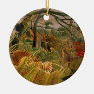Tiger in einem tropischen Sturm durch Henri Rundes Keramik Ornament