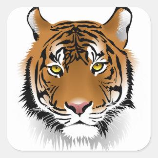 Tiger-Kopf-Druck-Entwurf Quadratischer Aufkleber