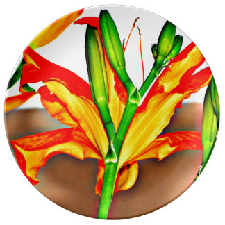 Tiger-Lilien-dekorative Porzellan-Platte Porzellanteller