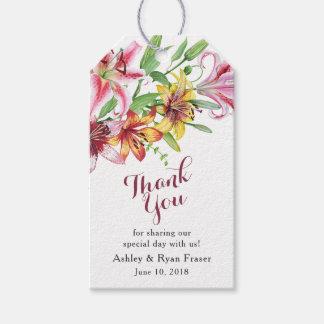 Tiger-Lilien-Tageslilien-Hochzeit danken Ihnen Geschenkanhänger
