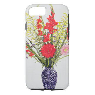 Tiger-LilienGladioli und Scabious in einem Blau iPhone 8/7 Hülle