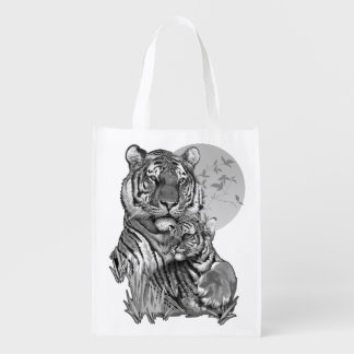 Tiger mit CUB (B/W) wiederverwendbare Einkaufstüte Wiederverwendbare Einkaufstasche