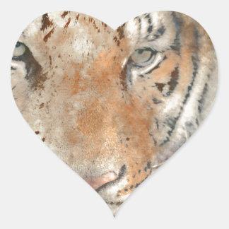 Tiger nah oben im Watercolor Herz-Aufkleber
