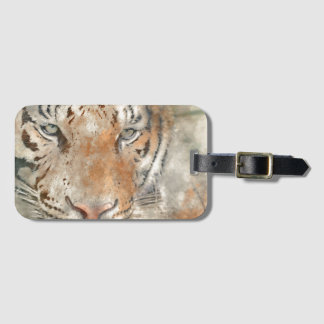 Tiger nah oben im Watercolor Kofferanhänger