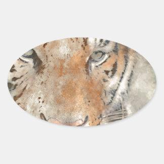 Tiger nah oben im Watercolor Ovaler Aufkleber