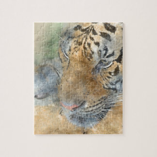 Tiger nah oben im Watercolor Puzzle