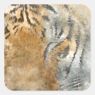 Tiger nah oben im Watercolor Quadratischer Aufkleber