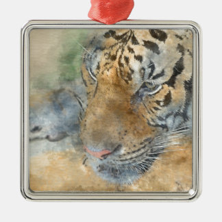 Tiger nah oben im Watercolor Quadratisches Silberfarbenes Ornament