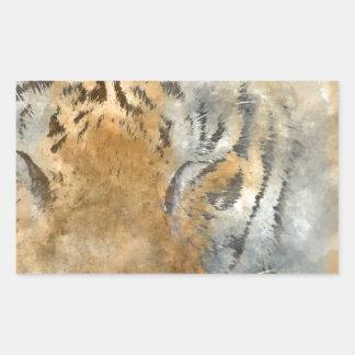 Tiger nah oben im Watercolor Rechteckiger Aufkleber