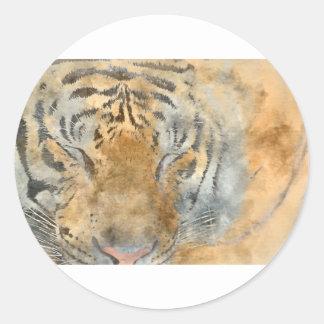 Tiger nah oben im Watercolor Runder Aufkleber