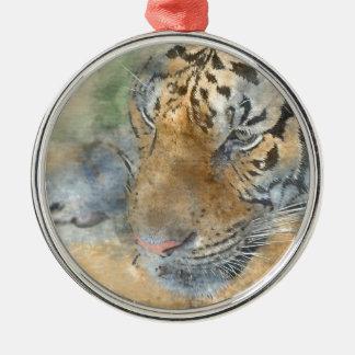 Tiger nah oben im Watercolor Silbernes Ornament