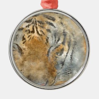 Tiger nah oben im Watercolor Silbernes Ornament